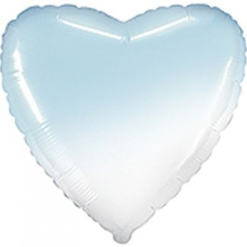 Шар с гелием СЕРДЦЕ омбре бело-голубое 80см