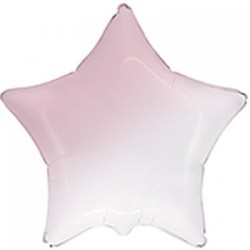 Шар с гелием ЗВЕЗДА омбре бело-розовая 80см