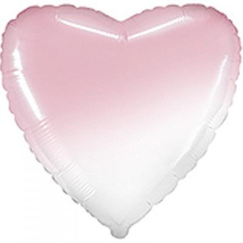 Шар с гелием СЕРДЦЕ омбре бело-розовое 80см