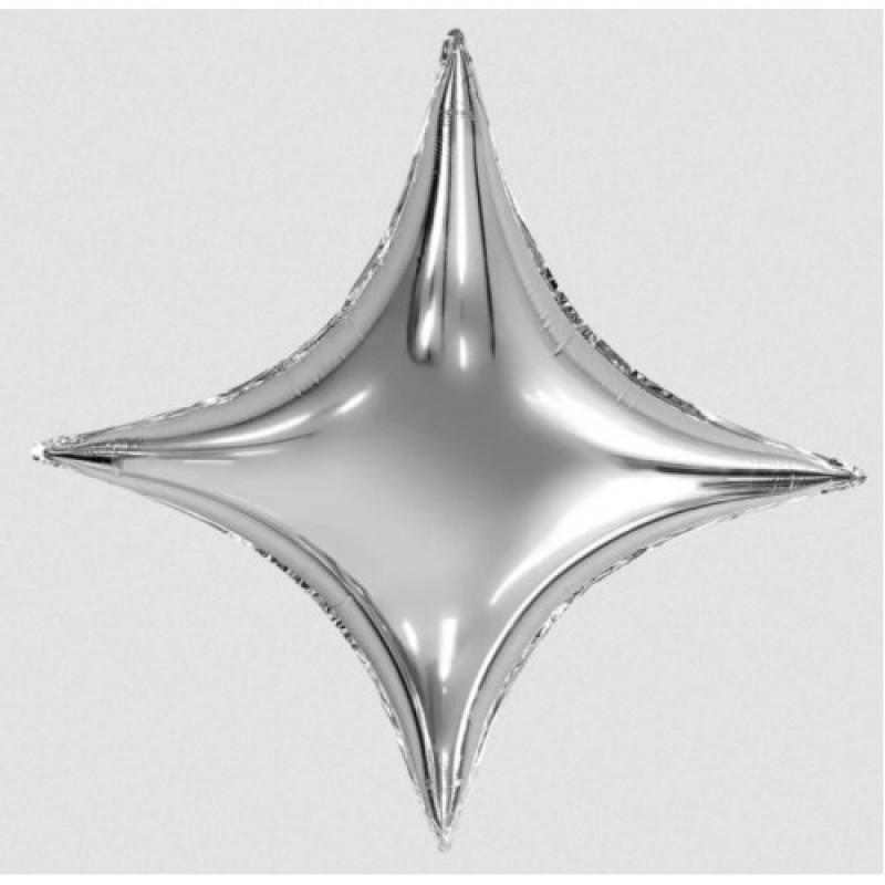 Шар с гелием ЗВЕЗДА  4х конечная Сириус серебро 94см