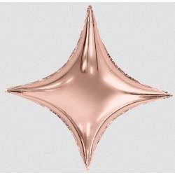 Шар с гелием ЗВЕЗДА  4х конечная Сириус розовое-золото 94см