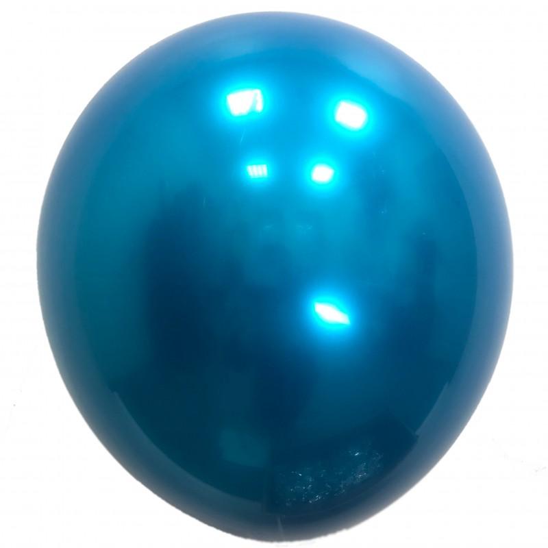 Шар с гелием,  ХРОМ Стеклянный Navy Blue 043, обработан HiFloat