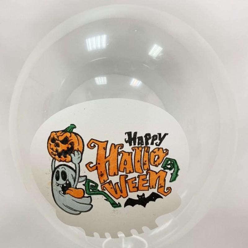 Шар с гелием, с рис Хэллоуин прозрачный, обработан HiFloat (1шт)