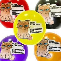 Шар с гелием, с рис грустный кот, обработан HiFloat (1шт)