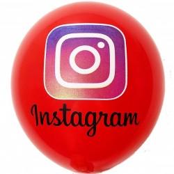 Шар с гелием, с рис instagram красный, обработан HiFloat (1шт)