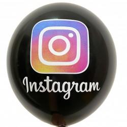 Шар с гелием, с рис instagram черный, обработан HiFloat (1шт)