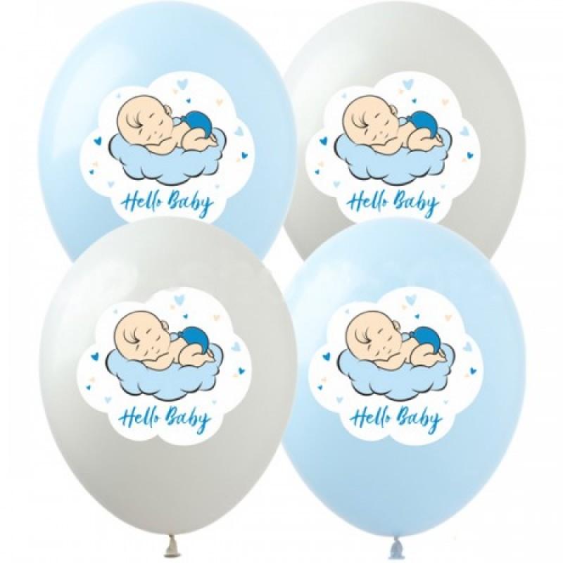 Шар с гелием, с рис Hello,baby мальчик, обработан HiFloat (1шт)