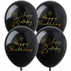 Шар с гелием, с рис Happy Birthday Короны на черном, обработан HiFloat (1шт)