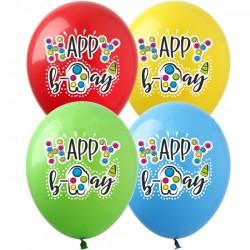 Шар с гелием, с рис Happy Birthday Симпл Димпл, обработан HiFloat (1шт)