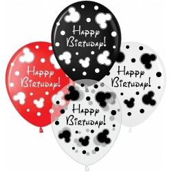 Шар с гелием, с рис Happy Birthday, Mickey style, обработан HiFloat (1шт)