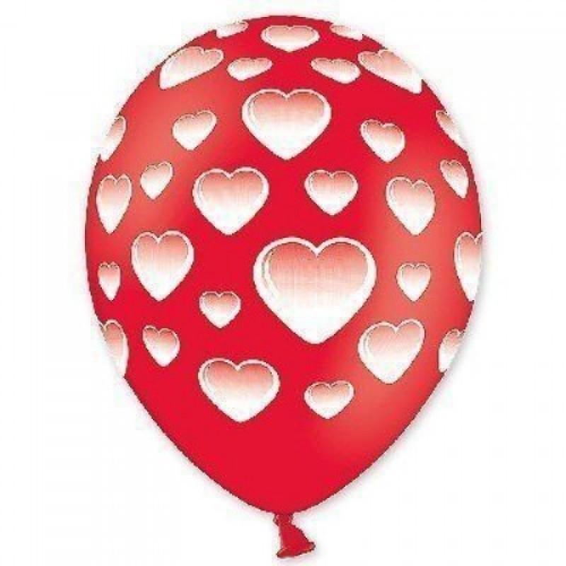 Шар с гелием, с рис шелкография пастель сердца, обработан HiFloat (1шт)