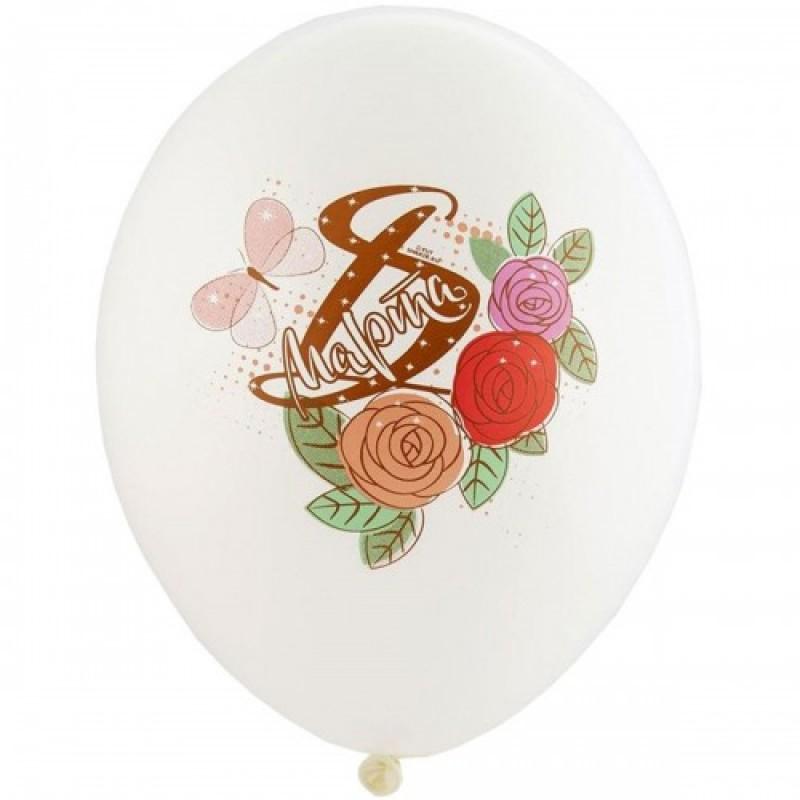 Шар с гелием, с рис 8 Марта Розы 5 цветов, обработан HiFloat (1шт)