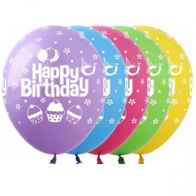 Шар с гелием, с рис Happy Birthday кексики, обработан HiFloat (1шт)