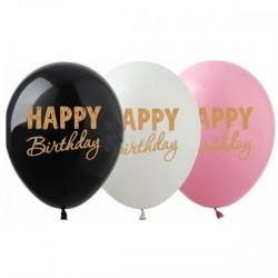 Шар с гелием, с рис Happy Birthday золотая краска, обработан HiFloat (1шт)