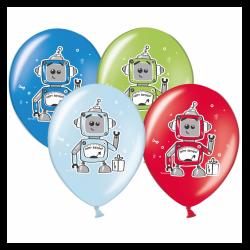 Шар с гелием, с рис Роботы микс, обработан HiFloat (1шт)