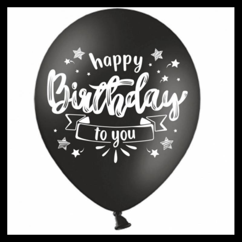 Шар с гелием, с рис Happy Birthday ,белым на черном, обработан HiFloat (1шт)