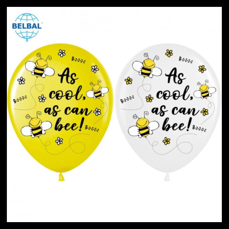 Шар с гелием, с рис Крутые пчелки желт+бел, обработан HiFloat (1шт)