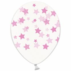 Шар с гелием, с рис розовые звезды на прозр, обработан HiFloat (1шт)