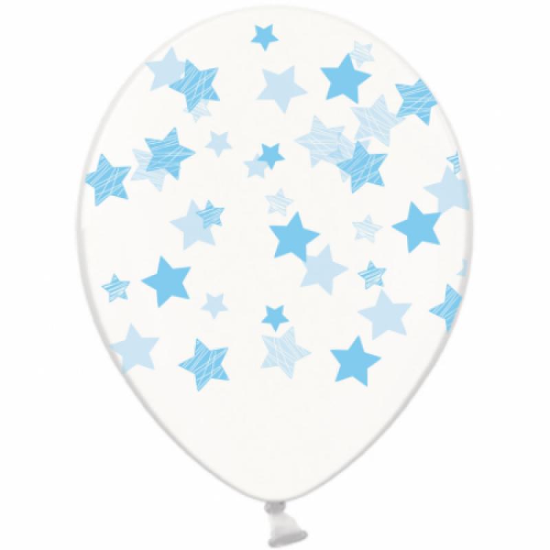Шар с гелием, с рис голубые звезды на прозр, обработан HiFloat (1шт)