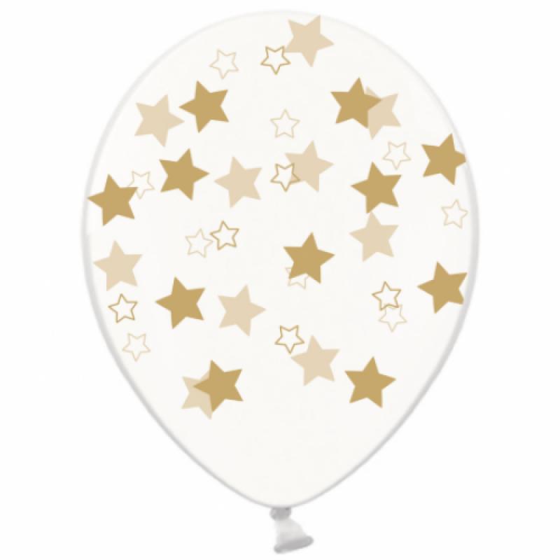 Шар с гелием, с рис золотые звезды на прозр, обработан HiFloat (1шт)