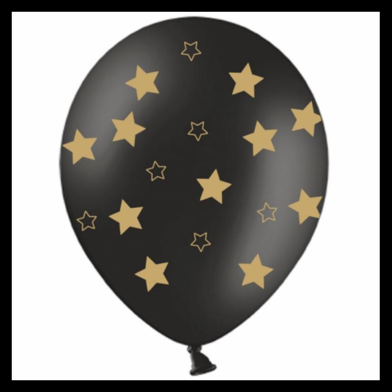 Шар с гелием, с рис мал золотые звезды на черном, обработан HiFloat (1шт)