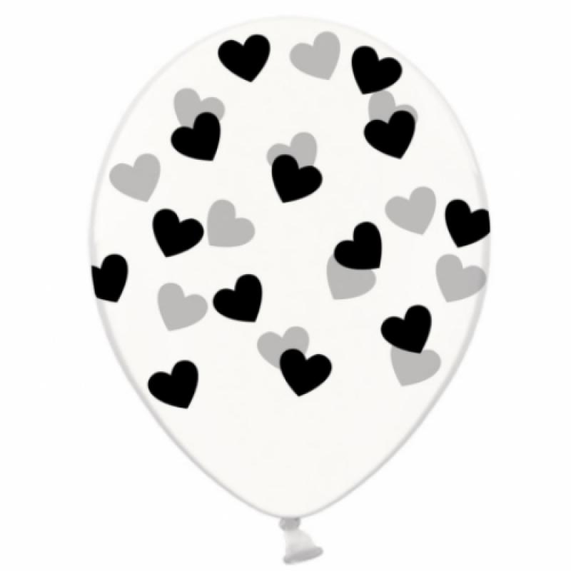 Шар с гелием, с рис черные сердечки на прозр, обработан HiFloat (1шт)