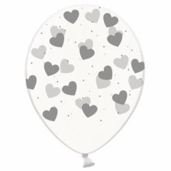 Шар с гелием, с рис серебряные сердечки на прозр, обработан HiFloat (1шт)