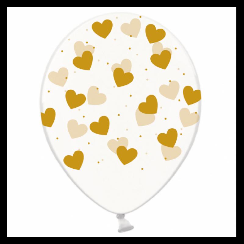 Шар с гелием, с рис золотые сердечки на прозр, обработан HiFloat (1шт)