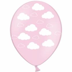 Шар с гелием, с рис Облака на розовом, обработан HiFloat (1шт)