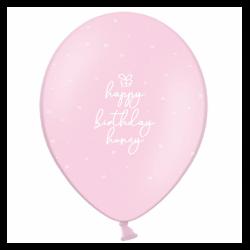 Шар с гелием, с рис Happy Birthday honey на розовом, обработан HiFloat (1шт)