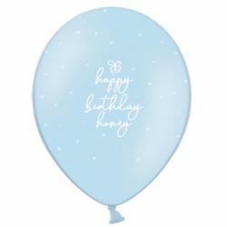 Шар с гелием, с рис Happy Birthday honey на голубом, обработан HiFloat (1шт)
