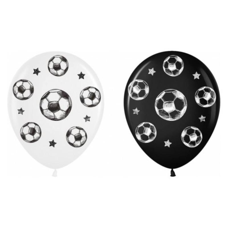 Шар с гелием, с рис Футбольные мячи микс черн, бел, обработан HiFloat (1шт)