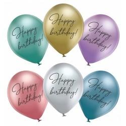 Шар с гелием, с рис Happy Birthday хром, обработан HiFloat (1шт)