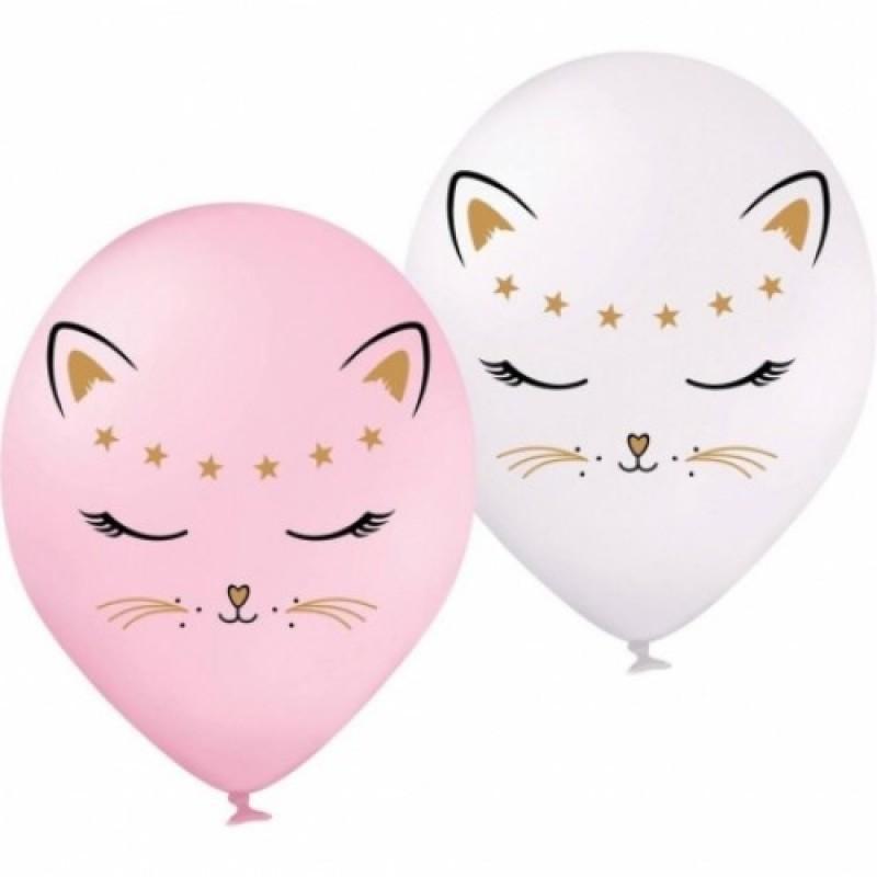 Шар с гелием Кошечка белая и розовая, обработан HiFloat (1шт)