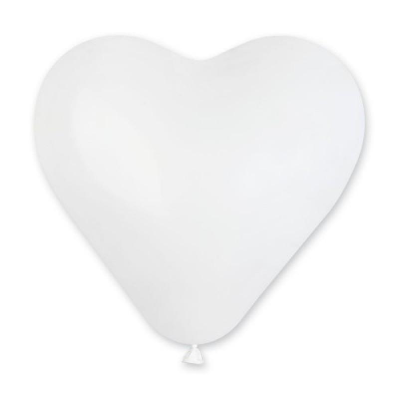 Сердечко латексное с гелием, обработано HiFloat, белое