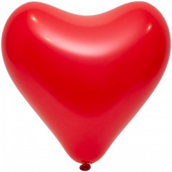 Сердечко латексное 44см с гелием, обработано HiFloat, красное