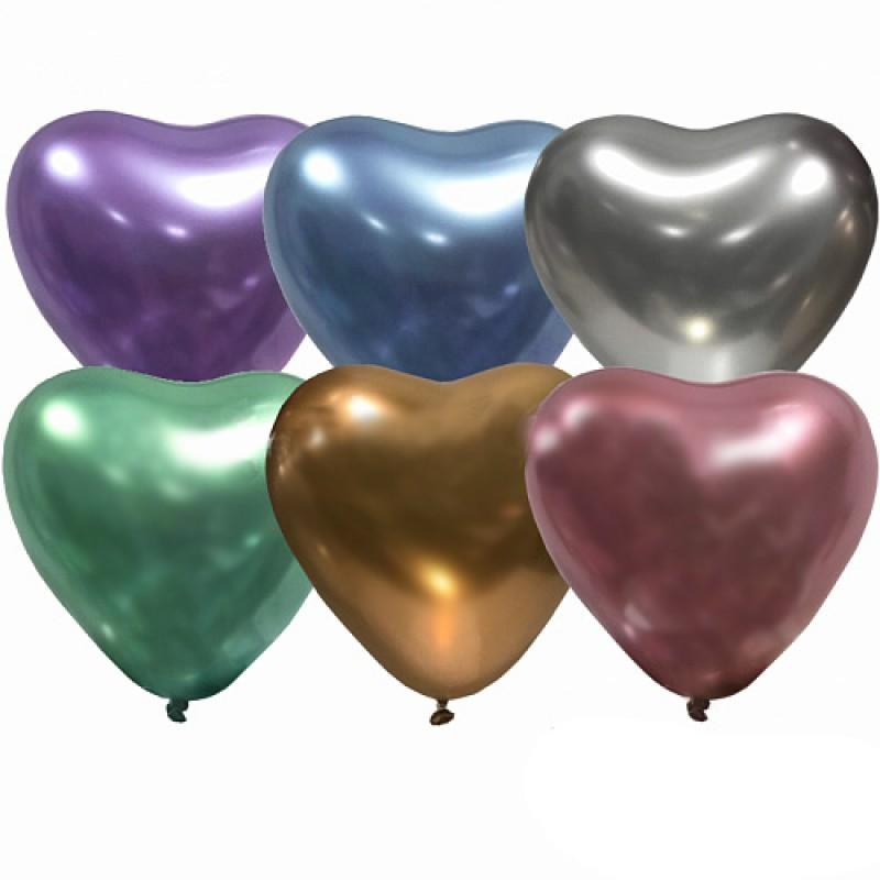Сердечко латексное ХРОМ с гелием, обработано HiFloat